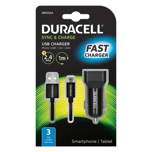 Car Charger Duracell with Single USB 2.4Α & Micro USB Cable 1m Black