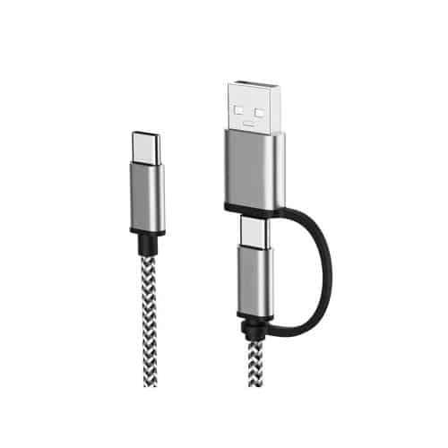 USB 2.0 Cable 2 in 1 USB C to USB C or USB A 2.4A 2m Black-White (Bulk)