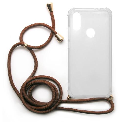 TPU Crossbody inos Xiaomi Redmi 7 Shock Proof Clear with Brown Strap