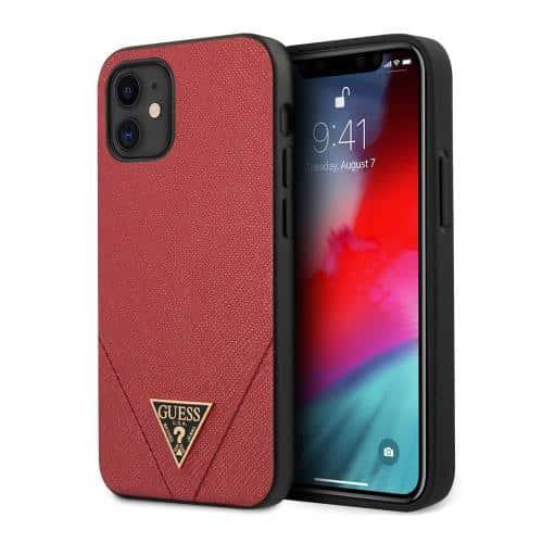 Θήκη Silicon Guess Apple iPhone 12 Mini Saffiano Κόκκινο