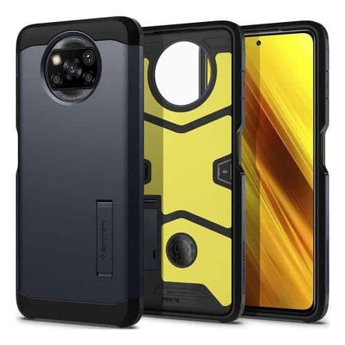 TPU & PC Back Cover Case Spigen Tough Armor Xiaomi Poco X3 NFC/ Poco X3 Pro Metal Slate