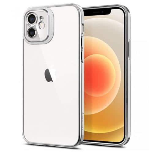 Silicone Case Spigen Optik Crystal Apple iPhone 12 Chrome Silver