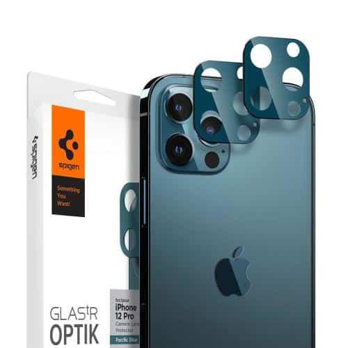Tempered Glass Full Face Spigen Glas.tR Optik for Camera Lens Apple iPhone 12 Pro Pacific Blue (2 pcs.)