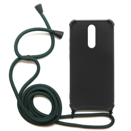 TPU Crossbody inos Xiaomi Redmi 8/ Redmi 8A Shock Proof Black with Dark Green Strap