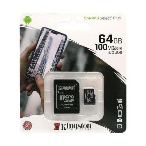 Κάρτα μνήμης Micro SDHC C10 UHS-I U1 Kingston Canvas Select Plus 100MB/s 64Gb + 1 ADP