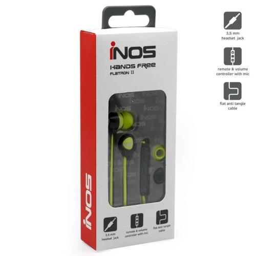 Hands Free Stereo inos 3.5mm Flatron II with Small Earphones Lime Green-Black