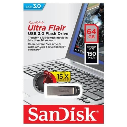 USB 3.0 Flash Disk SanDisk Ultra Flair SDCZ73 64GB 150MB/s Μαύρο
