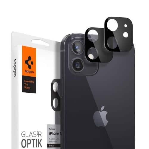 Tempered Glass Full Face Spigen Glas.tR Optik for Camera Lens Apple iPhone 12 Black (2 pcs)