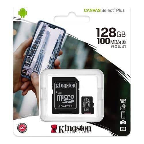 Micro SDHC C10 UHS-I U1 Memory Card Kingston Canvas Select Plus 100MB/s 128Gb + 1 ADP