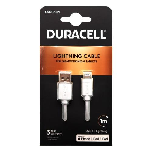 Καλώδιο Σύνδεσης USB 2.0 Duracell USB A σε MFI Lightning 1m Λευκό