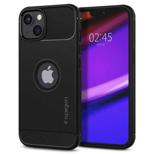 Θήκη Soft TPU Spigen Rugged Armor Apple iPhone 13 Μαύρο