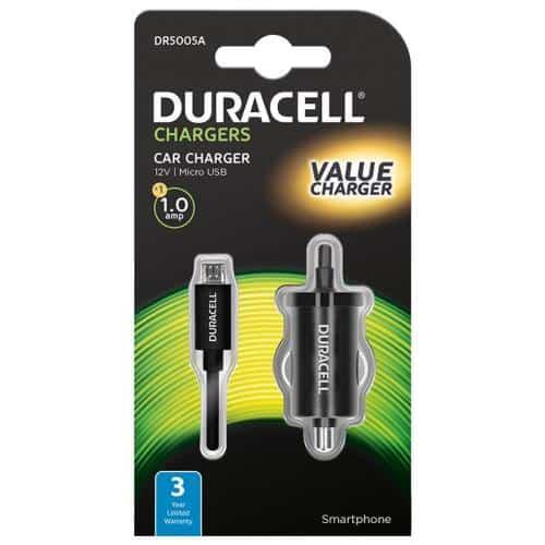 Φορτιστής Αυτοκινήτου Duracell Micro USB 1.0A Μαύρο