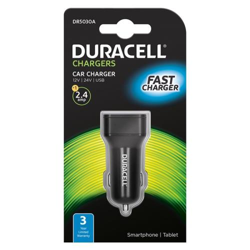 Car Charger Duracell with Single USB 2.4A Black