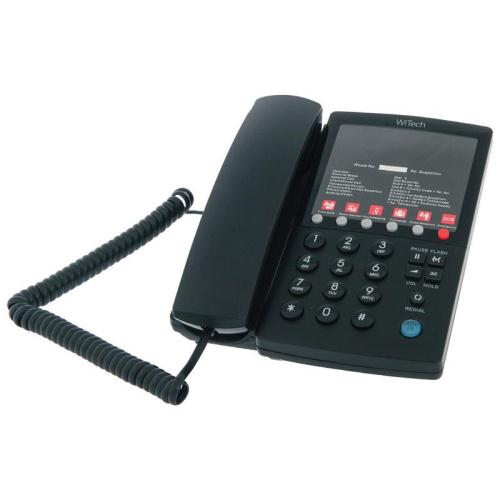 Land Line Hotel Phone WiTech WT 5006 with Emergency Button Black