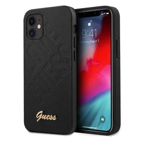 Θήκη Silicon Guess Apple iPhone 12 Mini Iridescent LoveScript Logo Μαύρο