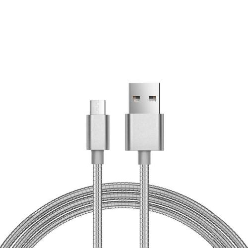 USB 2.0 Spring Cable inos USB A to Micro USB 1m Silver