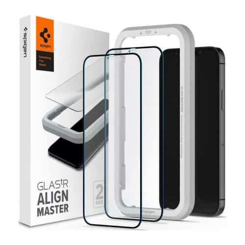 Tempered Glass Full Face Spigen Glas.tR Align Master Apple iPhone 12 Pro Max Black (2 pcs)