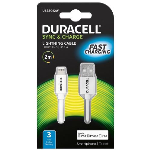 USB 2.0 Cable Duracell USB A to MFI Lightning 2m White