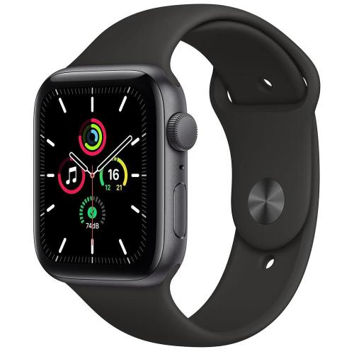 Apple Watch SE GPS 44mm Space Gray Aluminum Case With Sport Band Black