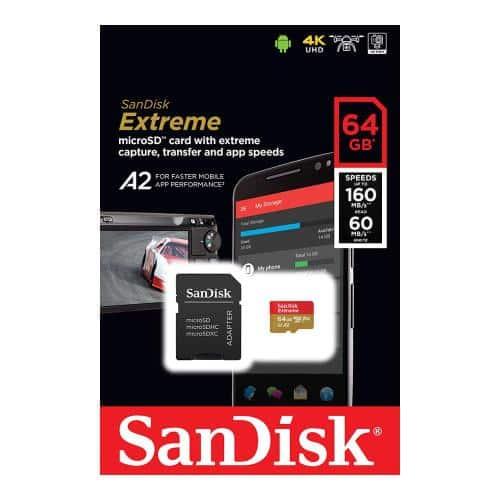 Κάρτα μνήμης Micro SDXC C10 UHS-I U3 SanDisk Extreme 160MB/s 64Gb + 1 ADP