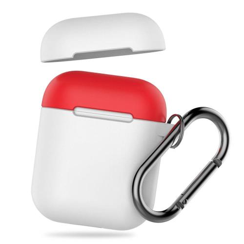 Silicon Case AhaStyle PT46 Apple AirPods Tone with Hook White-Red
