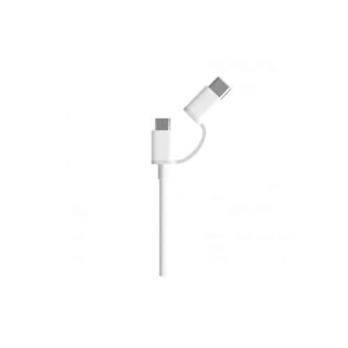 Καλώδιο Σύνδεσης USB 2.0 Xiaomi Mi 2in1 USB Α σε Micro USB & USB C SJX01ZM 0.3m Λευκό