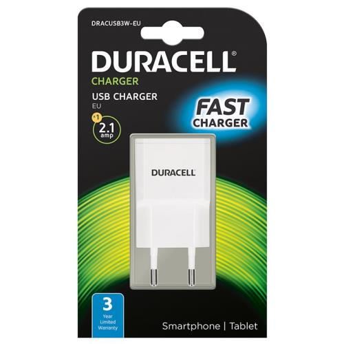 Travel Charger Duracell with Single USB 2.1A White