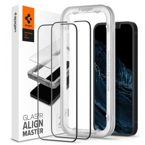 Tempered Glass Full Face Spigen Glas.tR Align Master Apple iPhone 13 mini Μαύρο (2 τεμ.)
