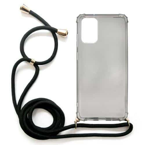 TPU Crossbody inos Samsung G985 Galaxy S20 Plus Shock Proof Smoke with Black Strap