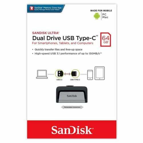 USB 3.1 Flash Disk SanDisk Dual Drive USB C 64GB 150 MB/s Silver