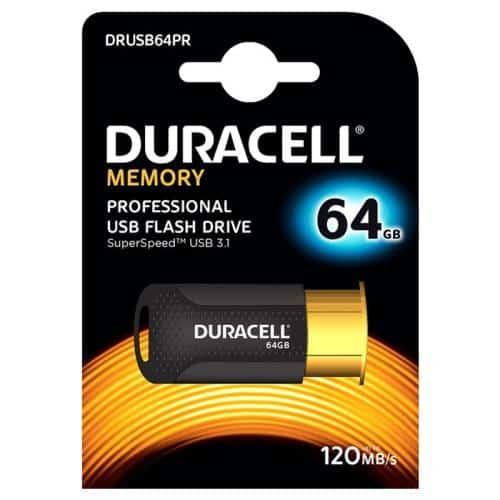 USB 3.1 Flash Disk Duracell Professional 64GB 120MB/s Μαύρο-Χρυσό