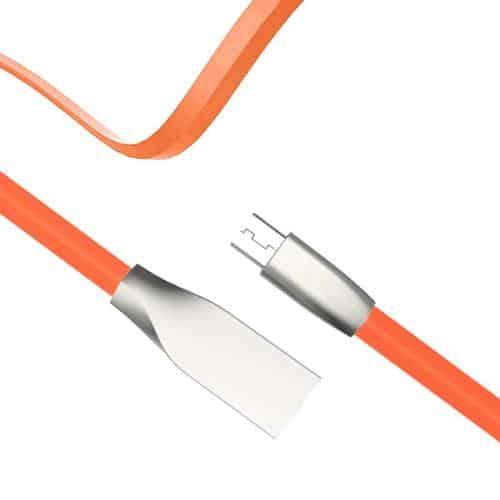 USB 2.0 Flat Cable inos USB A Micro USB Aluminium Series 1m Orange
